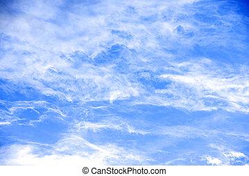 belleza, pacífico, cielo, nubes, blanco