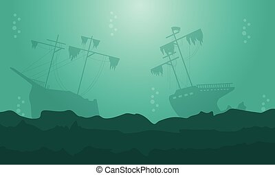 belleza, paisaje, de, barco, siluetas, en, el, mar