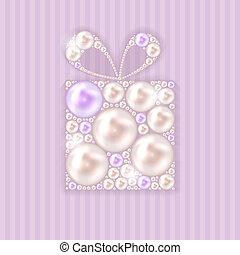 belleza, perla, regalo, plano de fondo, vector, ilustración