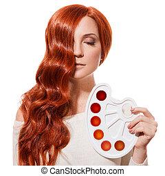 belleza, portrait., concepto, colorido, hair., aislado, blanco, plano de fondo