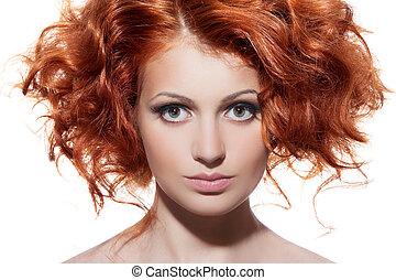 belleza, portrait., pelo rizado, blanco, plano de fondo