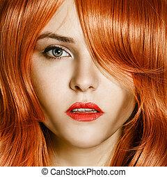 belleza, portrait., pelo rizado