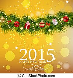 belleza, resumen, fondo., vector, año, 2015, nuevo, navidad