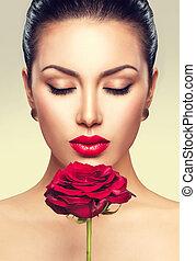 belleza, retrato, con, rosa roja, flor