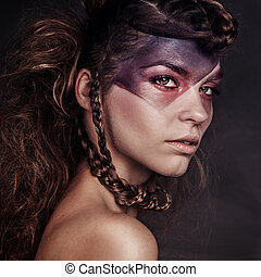 belleza, retrato, de, atractivo, morena, lady.