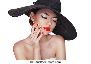belleza, retrato, de, hermoso, moda, mujer, con, sombrero negro