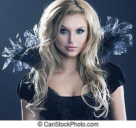 belleza, retrato, de, joven, atractivo, mujer