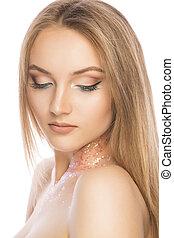 belleza, retrato, de, lujoso, mujer joven, con, brillante, brillar, maquillaje, encima, fondo blanco