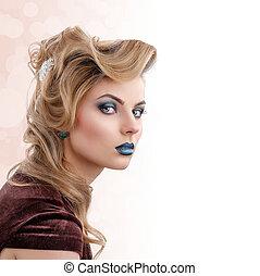 belleza, rubio, niña, retrato, con, colorido, maquillaje