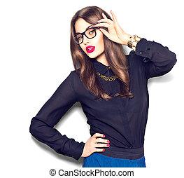 belleza, sexy, modelo, niña, llevando gafas, aislado, blanco, plano de fondo