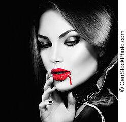 belleza, sexy, vampiro, niña, con, goteo, sangre, en, ella,...