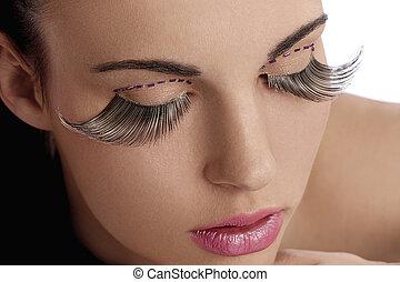belleza, tiro, con, creativo, maquillaje, con, largo,...
