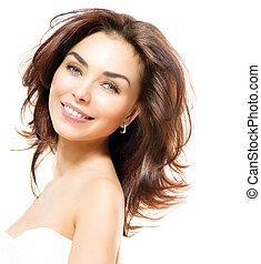belleza, woman., hermoso, joven, hembra, retrato