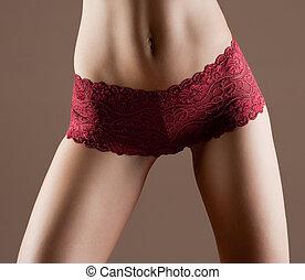 belleza, y, perfecto, mujer, con, ideal, condición física, cuerpo, en, rojo, bragas