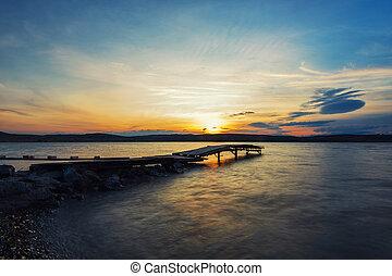 bellezza, alba, a, il, lago