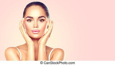 bellezza, brunetta, terme, donna, toccante, lei, face., skincare, concetto
