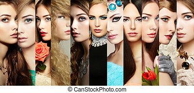 bellezza, collage., facce, di, donne