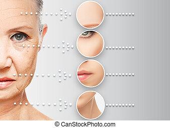 bellezza, concetto, pelle, aging., anti-invecchiare, procedure, ringiovanimento, sollevamento, serraggio, di, facciale, pelle