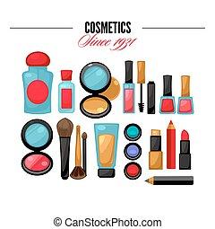 bellezza, cosmetico, makeup., products., facciale, attrezzi
