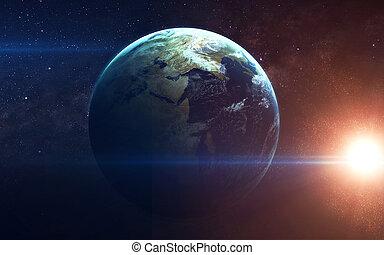 bellezza, di, terra pianeta, infinito, spazio, con, nebulas,...