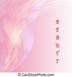 bellezza, dicitura, con, rosa, linea, attraente, fondo