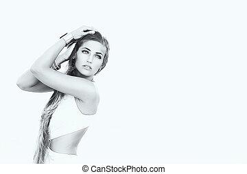 bellezza, donna, con, bellezza, lungo, marrone, hair., in, nero & bianco