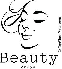 bellezza, donna, -, vettore, -, logotipo, salone