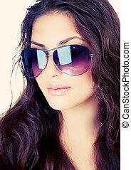 bellezza, elegante, modella, ragazza, occhiali sole indossare