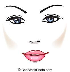 bellezza, faccia donna, bello, ragazza, vettore, ritratto