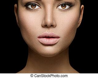 bellezza, faccia donna, ritratto, closeup, isolato, su,...