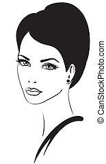 bellezza, faccia donna, vettore, icona