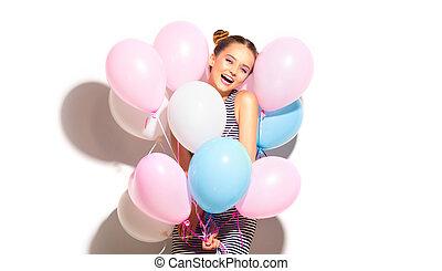 bellezza, gioioso, ragazza adolescente, con, colorito, aria, palloni, divertimento, isolato, bianco
