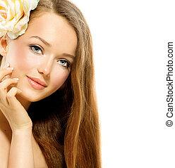 bellezza, girl., sano, capelli lunghi, e, perfetto, pelle chiara