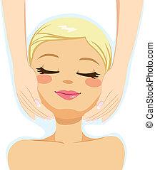 bellezza, massaggio facciale