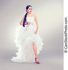 71269f3b92 Vestire, donna, moda, veste, bellezza, sopra, volare, lungo, sposa ...
