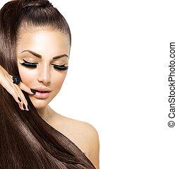 bellezza, moda, ragazza, con, lungo, hair., trendy, caviale, nero, manicure