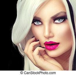 bellezza, moda, ragazza, nero bianco, stile