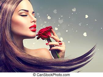 bellezza, modella, donna, con, rosso sorto, fiore