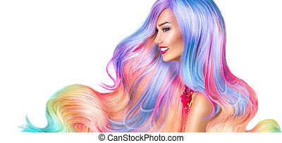 bellezza, modella, ragazza, con, colorito, capelli tinti