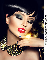bellezza, modella, ragazza, con, luminoso, trucco, e, dorato, accessori