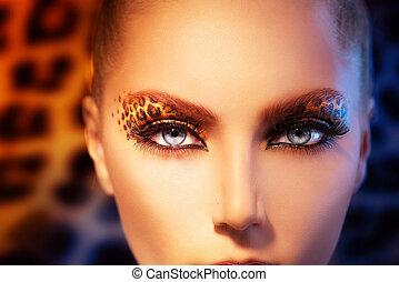 bellezza, modella, ragazza, con, vacanza, leopardo, trucco