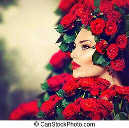 bellezza, modella, ragazza, ritratto, con, rose rosse, acconciatura