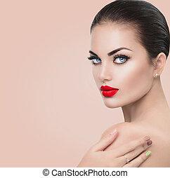 bellezza, modella, woman., ragazza, con, rosso, sexy, labbra, blu, occhi