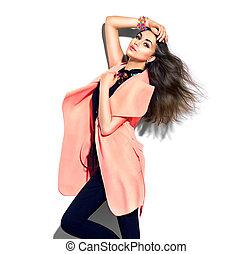 bellezza, modello, ragazza, proposta, in, moda, vestiti
