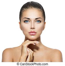 bellezza, portrait., bello, terme, donna, toccante, lei,...
