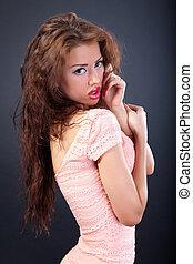 bellezza, portrait., hair., donna, bello, riccio