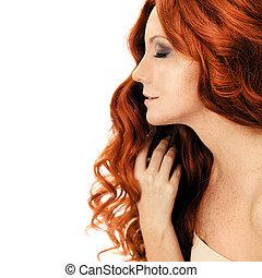 bellezza, portrait., isolato, riccio, hair.