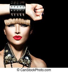 bellezza, punk, modello, girl., moda, sedia dondolo, stile, ritratto