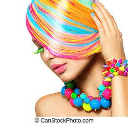 bellezza, ragazza, ritratto, con, colorito, trucco, capelli, e, accessori