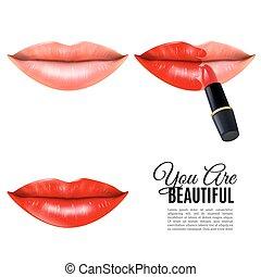 bellezza, realistico, su, fare, labbra, manifesto